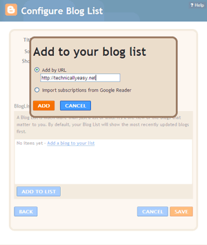Blogger - Add To Your Blog List
