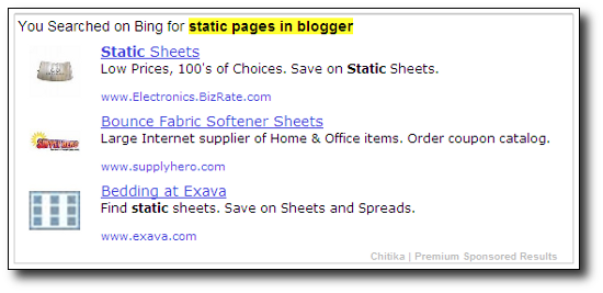 """Chitika Ads - """"Static Pages in Blogger"""" Search"""
