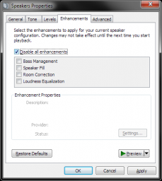 Windows 7 - Disable All (Audio) Enhancements