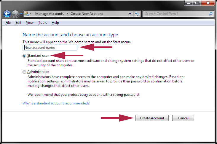 Account Name: How To Create A Standard User Account In Windows 7