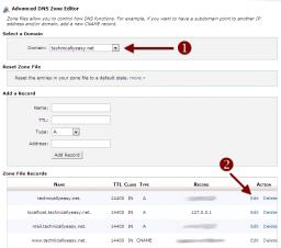 cPanel Advanced DNS Zone Editor - Edit Domain