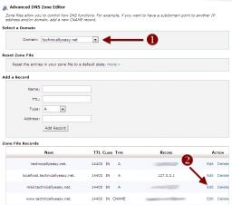 cPanel Advanced DNS Zone Editor - Edit Mail Domain