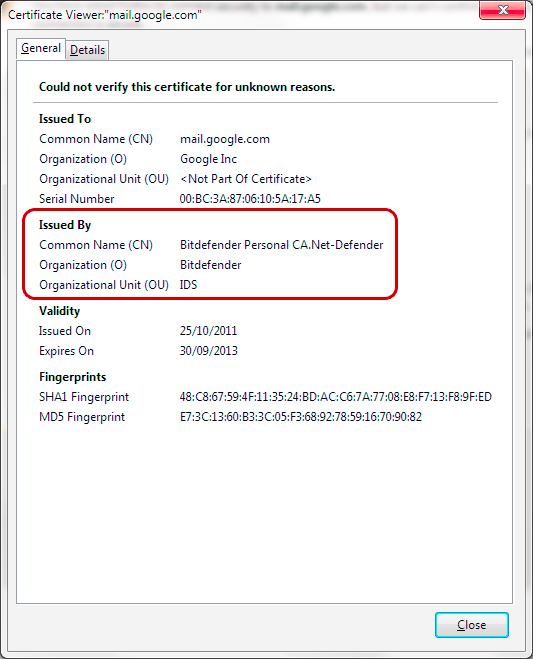 Firefox - Certificate Details