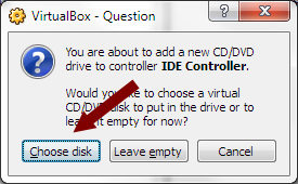 VirtualBox - Choose Existing CD-ROM