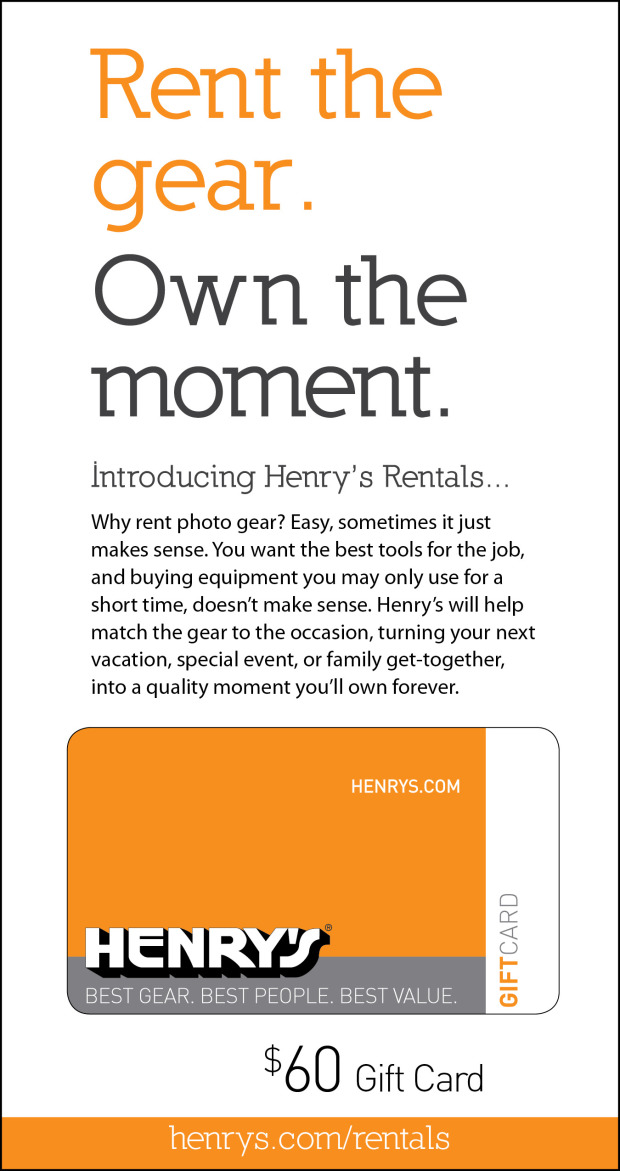 Henry's Rental Gift Card Giveaway