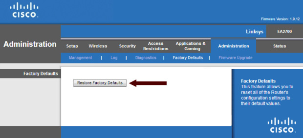 Linksys EA2700 Restore Factory Defaults Button
