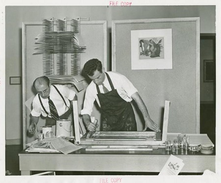 Screen printing in the mid-20th century